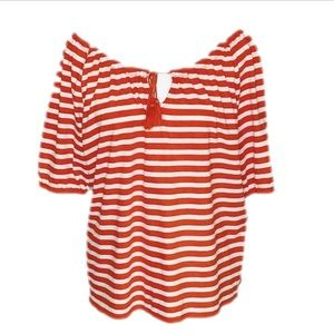 J. Crew Red and White Stripe Top NWOT Small
